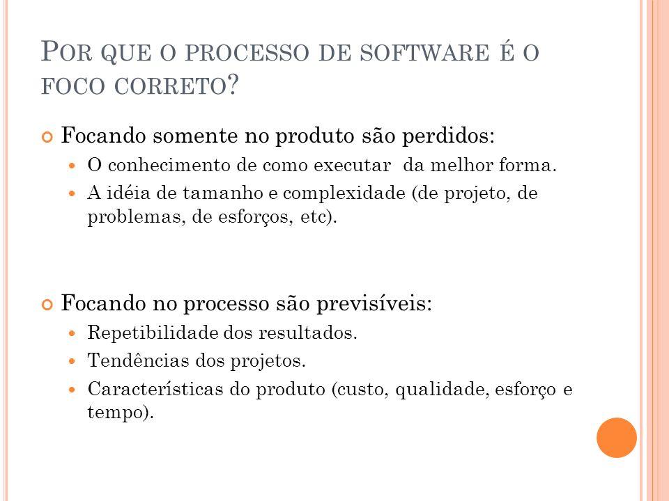 P OR QUE O PROCESSO DE SOFTWARE É O FOCO CORRETO ? Focando somente no produto são perdidos: O conhecimento de como executar da melhor forma. A idéia d
