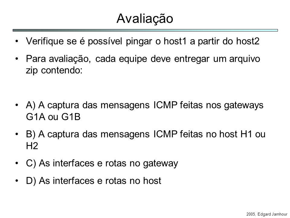 2005, Edgard Jamhour Avaliação Verifique se é possível pingar o host1 a partir do host2 Para avaliação, cada equipe deve entregar um arquivo zip contendo: A) A captura das mensagens ICMP feitas nos gateways G1A ou G1B B) A captura das mensagens ICMP feitas no host H1 ou H2 C) As interfaces e rotas no gateway D) As interfaces e rotas no host
