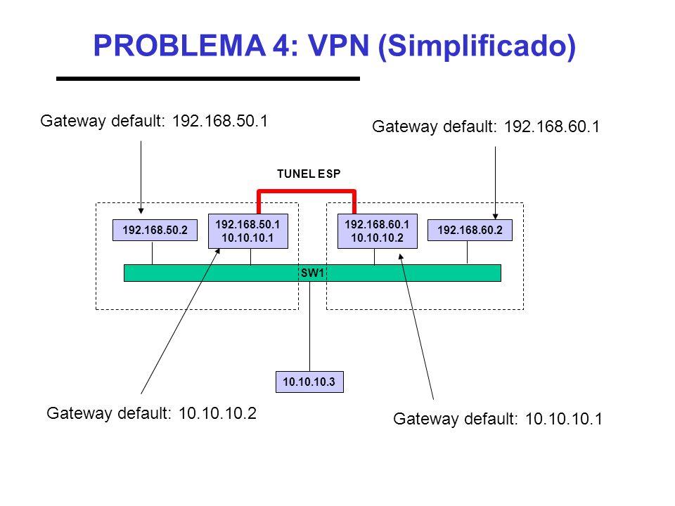 PROBLEMA 4: VPN (Simplificado) SW1 192.168.50.1 10.10.10.1 TUNEL ESP 192.168.50.2 192.168.60.1 10.10.10.2 192.168.60.2 10.10.10.3 Gateway default: 192