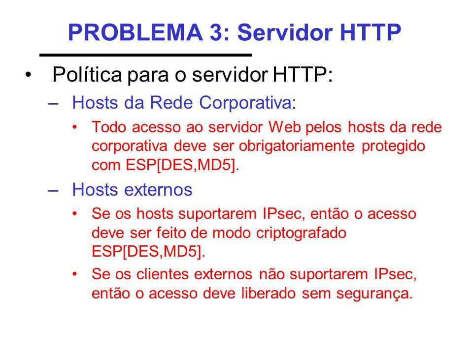 PROBLEMA 3: Servidor HTTP Política para o servidor HTTP: –Hosts da Rede Corporativa: Todo acesso ao servidor Web pelos hosts da rede corporativa deve
