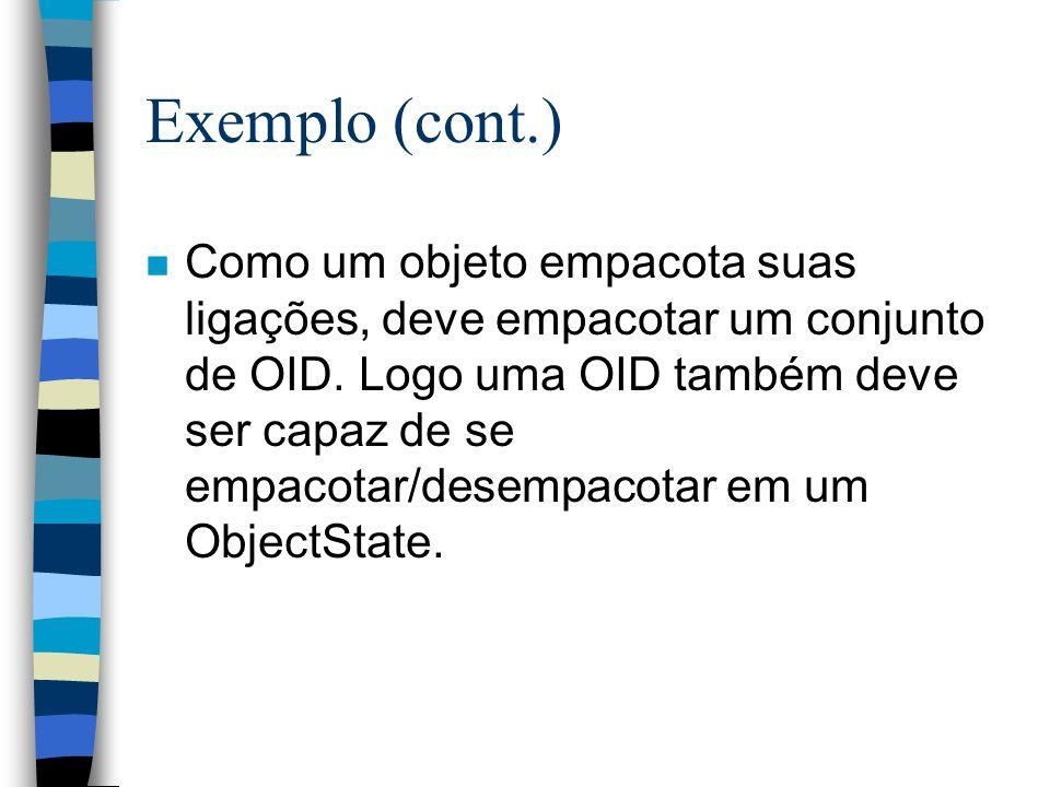Exemplo (cont.) n Como um objeto empacota suas ligações, deve empacotar um conjunto de OID.