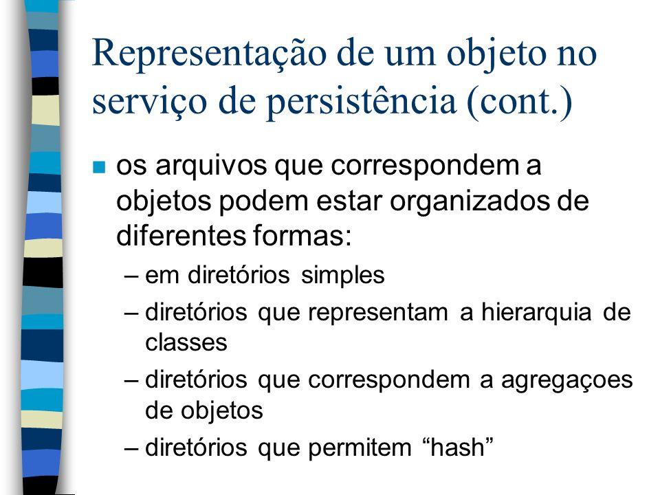 Representação de um objeto no serviço de persistência (cont.) n os arquivos que correspondem a objetos podem estar organizados de diferentes formas: –em diretórios simples –diretórios que representam a hierarquia de classes –diretórios que correspondem a agregaçoes de objetos –diretórios que permitem hash
