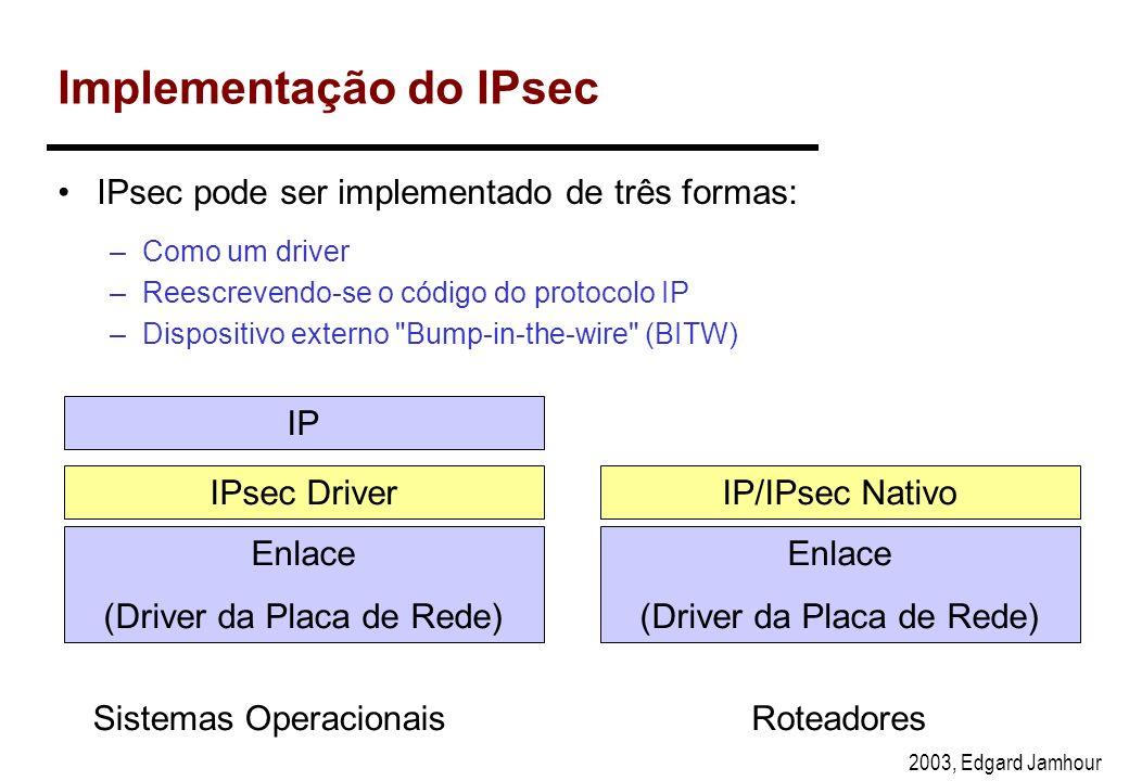 2003, Edgard Jamhour IP Sec - IP Seguro Padrão aberto baseado em RFC (IETF). –Comunicação segura em camada 3 (IPv4 e IPv6) –Provê recursos de seguranç