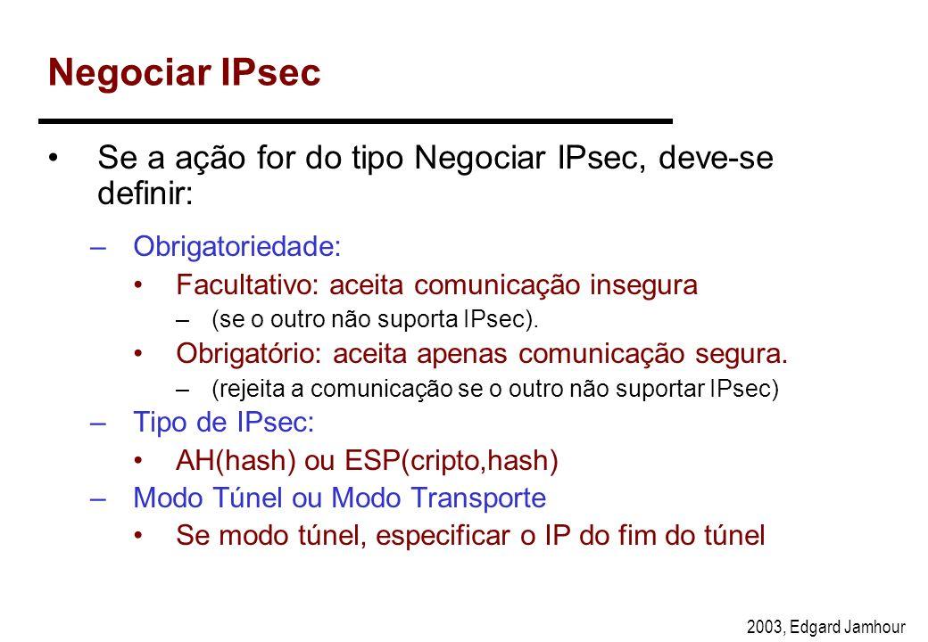 2003, Edgard Jamhour Ações IPsec na Recepção Discard Bypass Regras IPsec verifica assinaturas decriptografa IPsec Driver Enlace IP IPsec AH IP Negocia