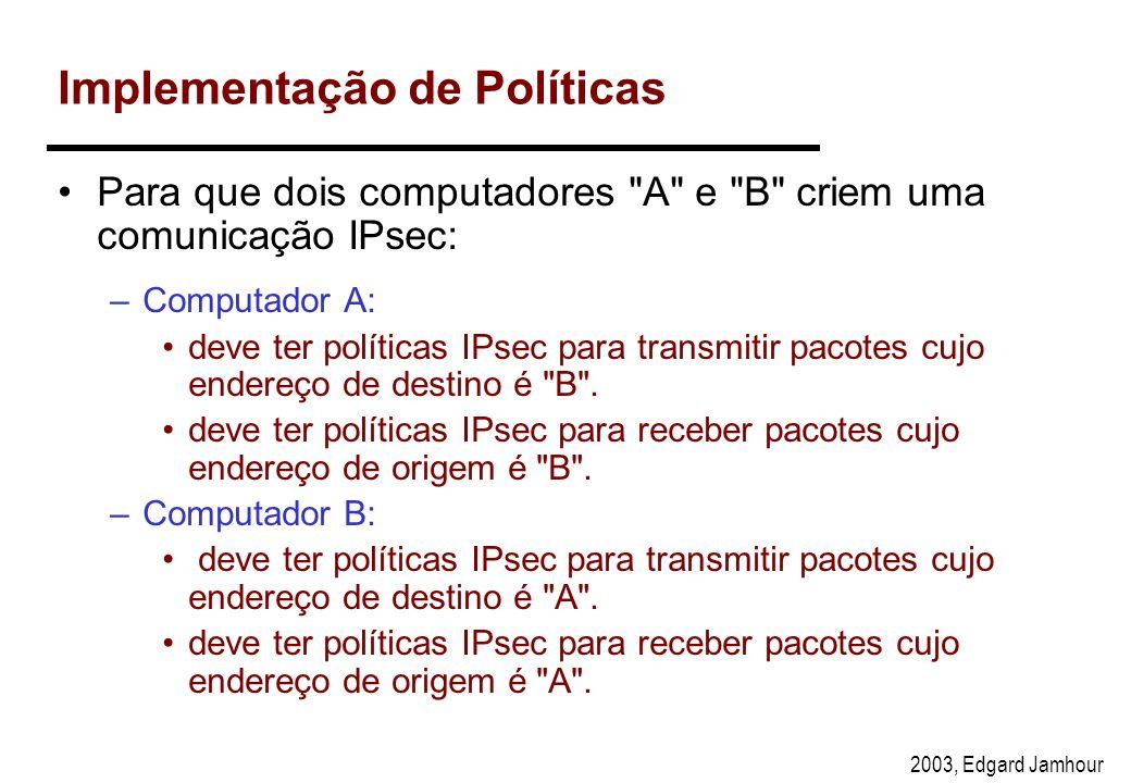 2003, Edgard Jamhour Algoritmos Utilizados Algoritmo de Chave Pública: –Diffie-Hellman Algoritmos de Criptografia: –DES-CBC with Explicit IV –40-bit D