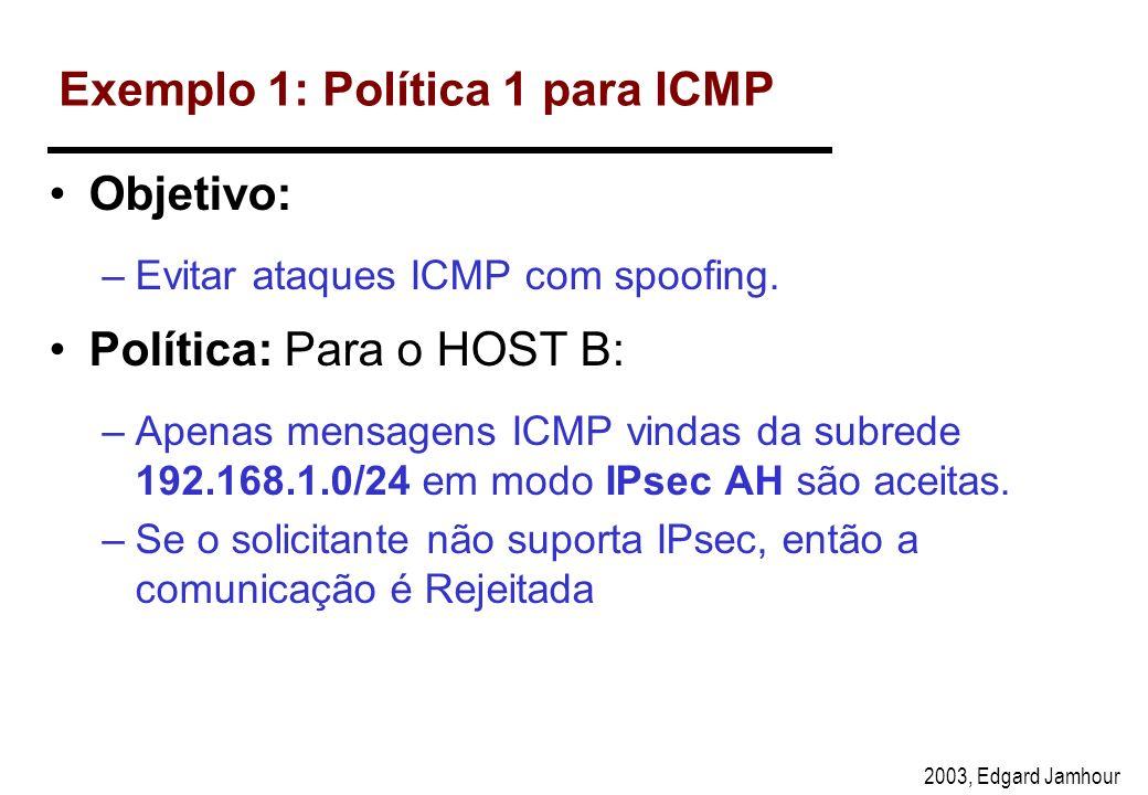 2003, Edgard Jamhour Política Default Assim como um firewall, também é possível estabelecer uma política default para o IPsec. A políticas default ser