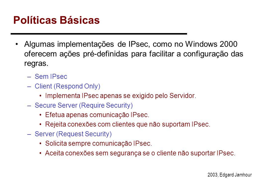 2003, Edgard Jamhour Política para os Clientes ModoIP Origem IP Destino ProtocoloPorta Origem Porta Dest. Acao