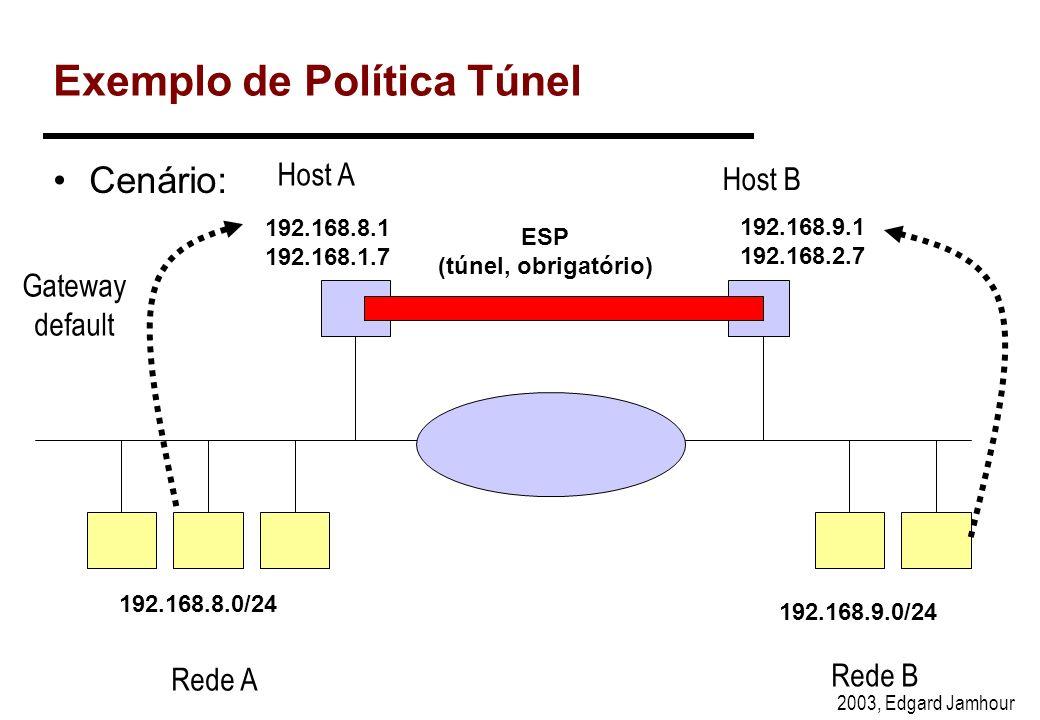 2003, Edgard Jamhour Pergunta: Que política Básica deve ser configurada nos hosts da rede A para que eles possam acessar o servidor HTTP em modo IPsec