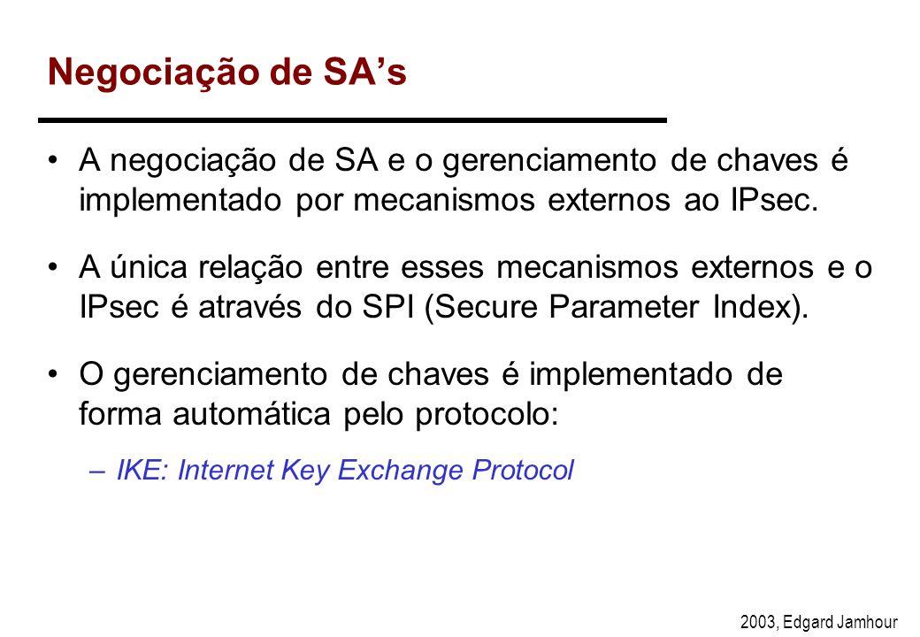2003, Edgard Jamhour Security Association Uma vez definida uma política comum a ambos os computadores, uma associação de segurança (SA) é criada para