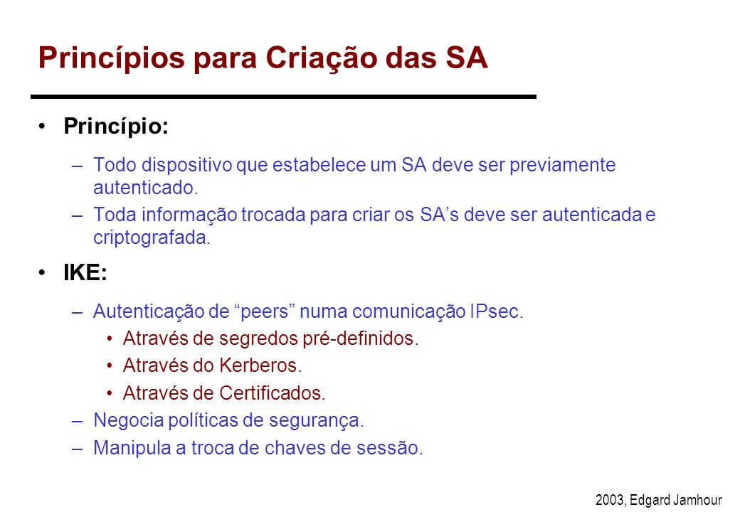 2003, Edgard Jamhour Distribuição de Chaves no IPsec A distribuição de chaves no IPsec é implementado de forma independente do protocolo, na forma de