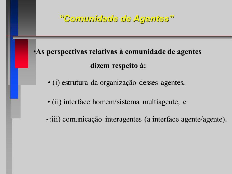 As perspectivas relativas à comunidade de agentes dizem respeito à: (i) estrutura da organização desses agentes, (ii) interface homem/sistema multiage