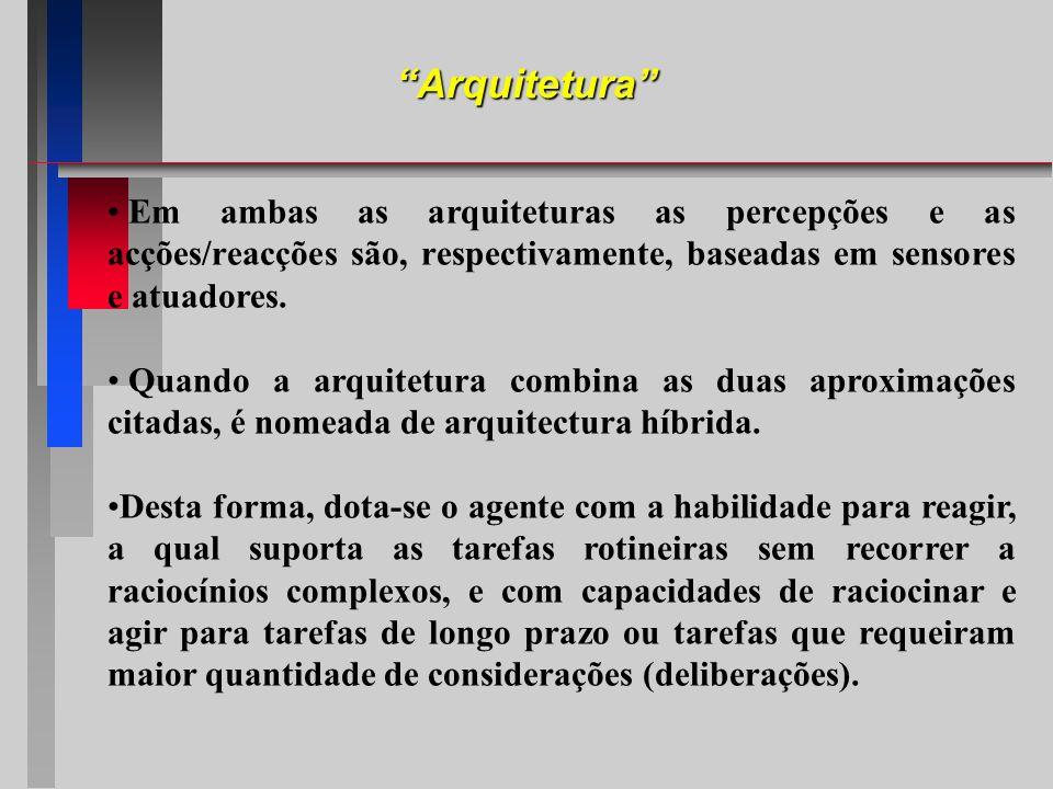 Em ambas as arquiteturas as percepções e as acções/reacções são, respectivamente, baseadas em sensores e atuadores. Quando a arquitetura combina as du