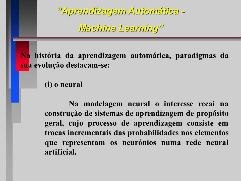 Na história da aprendizagem automática, paradigmas da sua evolução destacam-se: (i) o neural Na modelagem neural o interesse recai na construção de si