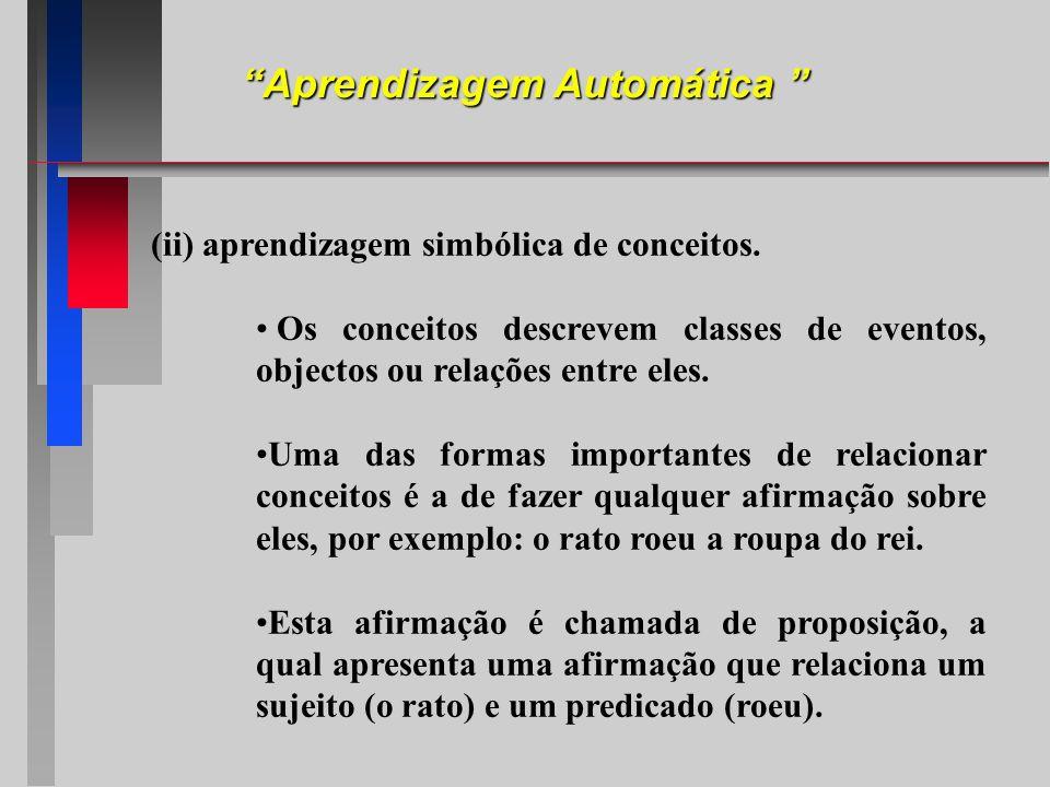 (ii) aprendizagem simbólica de conceitos. Os conceitos descrevem classes de eventos, objectos ou relações entre eles. Uma das formas importantes de re