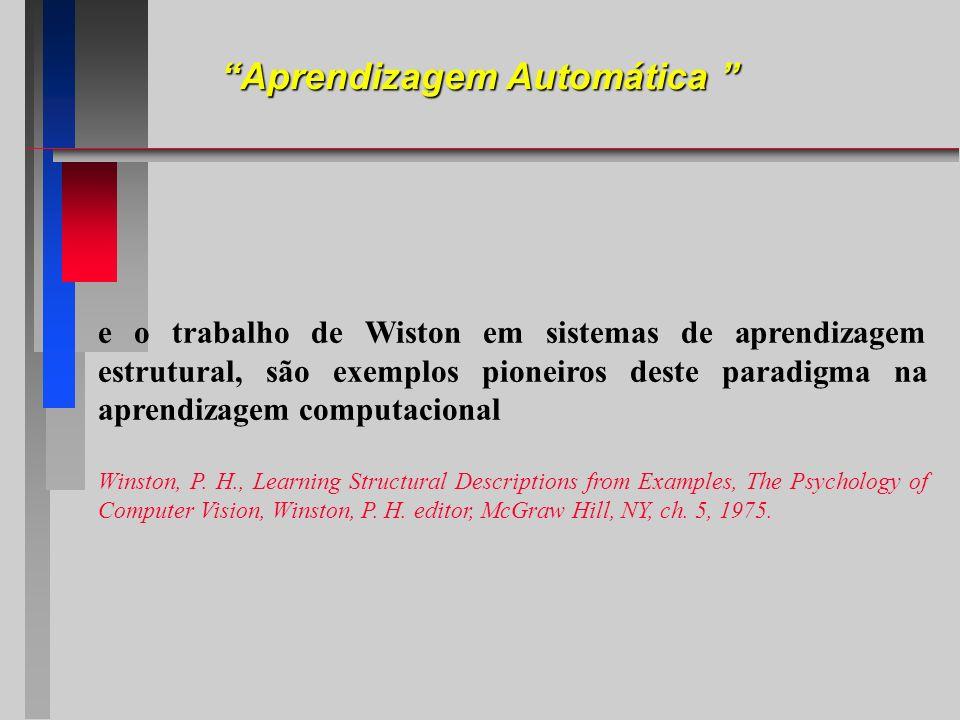 e o trabalho de Wiston em sistemas de aprendizagem estrutural, são exemplos pioneiros deste paradigma na aprendizagem computacional Winston, P. H., Le