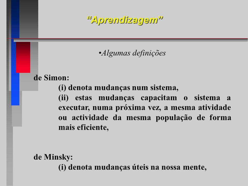 Aprendizagem Algumas definições de Simon: (i) denota mudanças num sistema, (ii) estas mudanças capacitam o sistema a executar, numa próxima vez, a mes