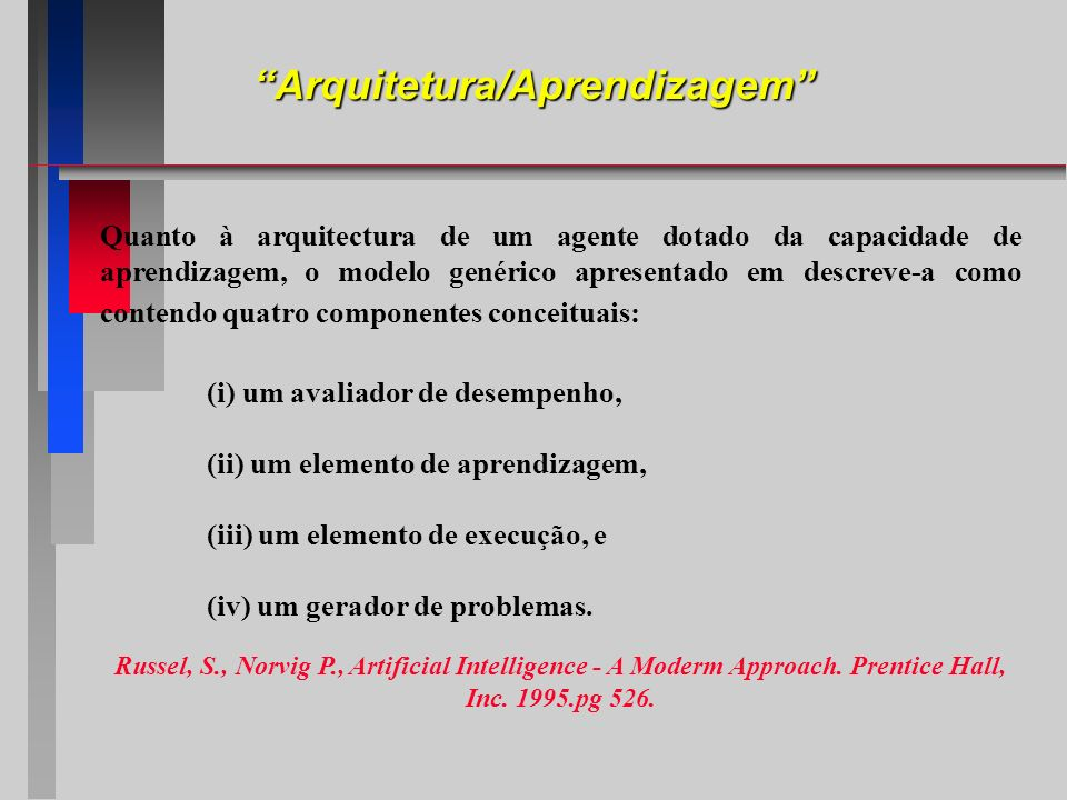 Quanto à arquitectura de um agente dotado da capacidade de aprendizagem, o modelo genérico apresentado em descreve-a como contendo quatro componentes