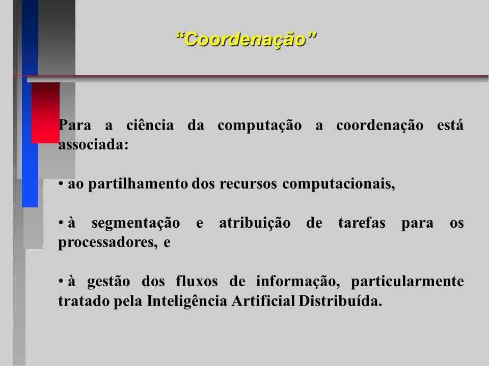 Coordenação Para a ciência da computação a coordenação está associada: ao partilhamento dos recursos computacionais, à segmentação e atribuição de tar