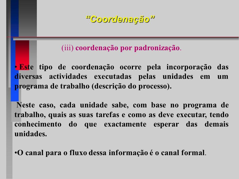 Coordenação (iii) coordenação por padronização. Este tipo de coordenação ocorre pela incorporação das diversas actividades executadas pelas unidades e