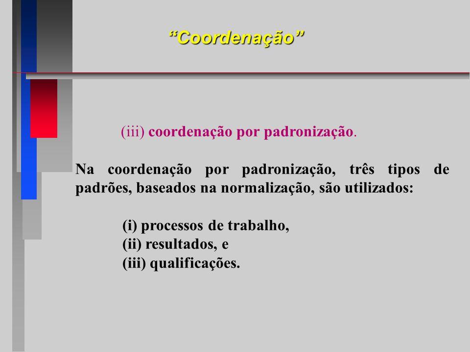 Coordenação (iii) coordenação por padronização. Na coordenação por padronização, três tipos de padrões, baseados na normalização, são utilizados: (i)