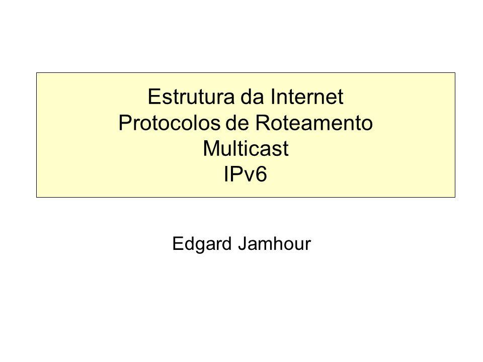 Suporte aos Túneis Dinâmicos: Endereços 6to4 Uma classe especial de endereços IPv6 foi criada para suportar a criação de túneis automáticos (RFC 2529) – 2002::/16 Nessa classe, o endereço IPv4 do túnel é definido dentro do próprio endereço IPv6 do destinatário, conforme mostra a figura abaixo.