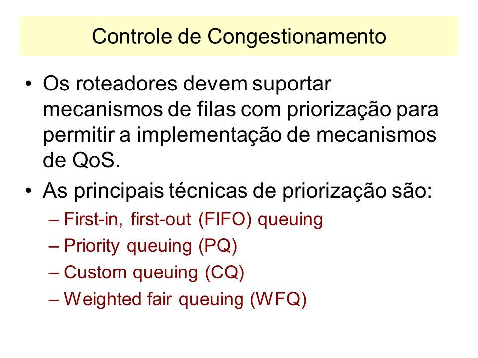 Técnicas de QoS Diferenciado Controle de Congestionamento –Estabelece mecanismo para diferenciar o tráfego em caso de congestionamento da rede. –Permi