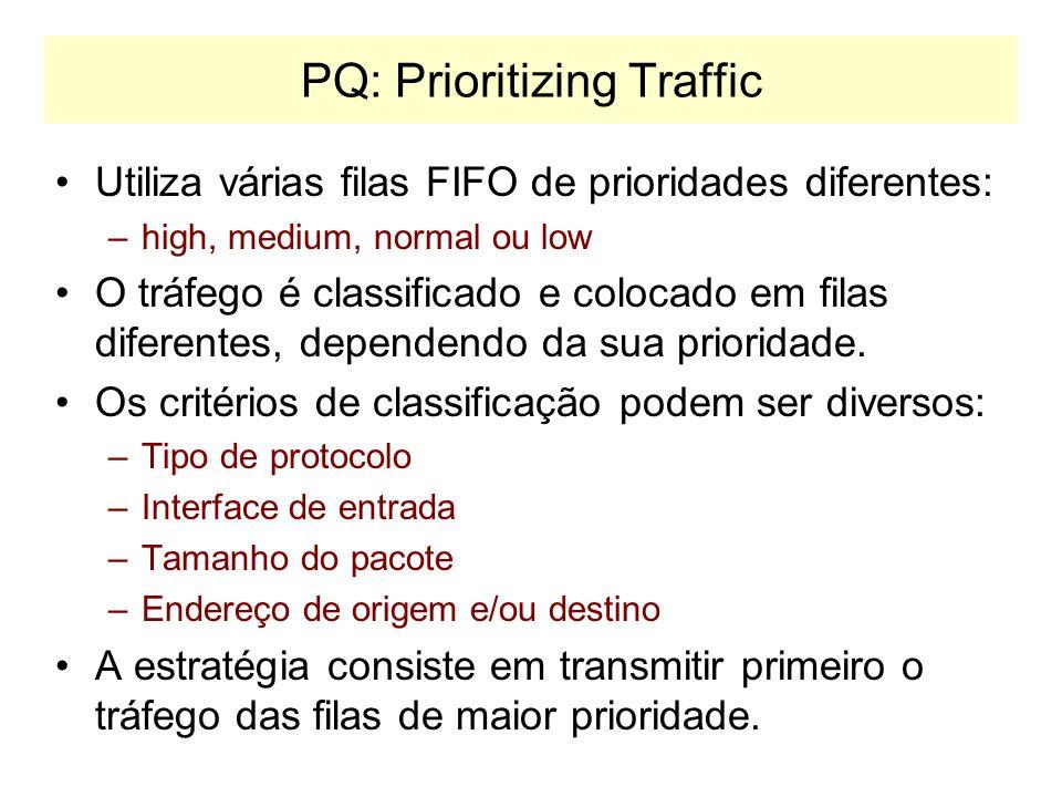 FIFO – First In Firt Out Trata as variações de tráfego através de uma fila, mas não utiliza nenhum tipo de prioridade. É a opção default dos dispositi
