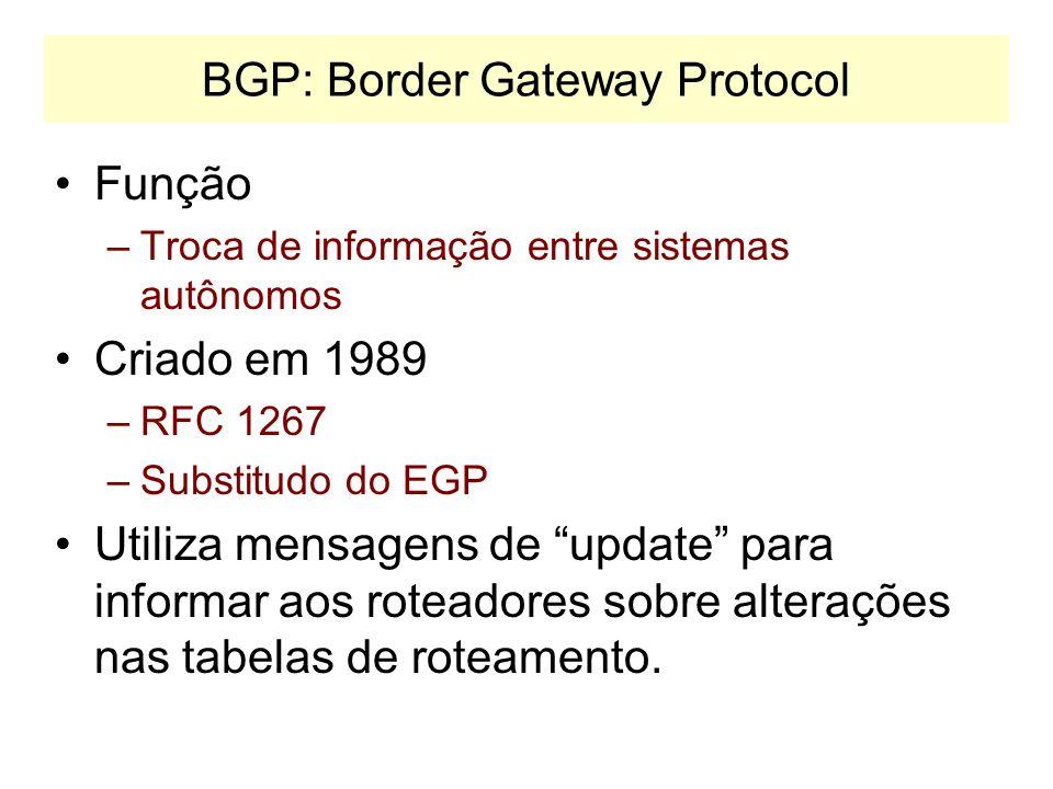 Correção de Rotas Tabelas de roteamento são alteradas nos gateways quando uma mensagem indica que: –Uma nova rede foi encontrada. –Um caminho melhor p
