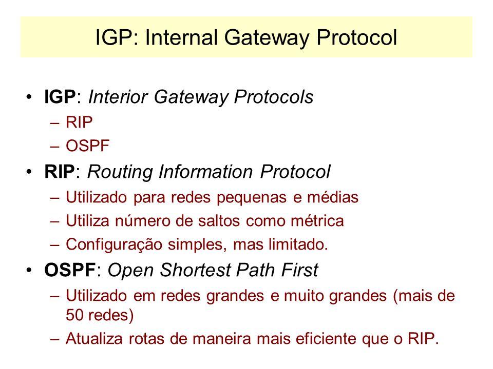 BGP AB C D E FG H I SISTEMA AUTÔNOMO 1 SISTEMA AUTÔNOMO 2 SISTEMA AUTÔNOMO 3 BGP Speaker SISTEMA AUTÔNOMO 4 PROPAGAÇÃO DAS ALTERAÇÕES Mensagem de UPDA