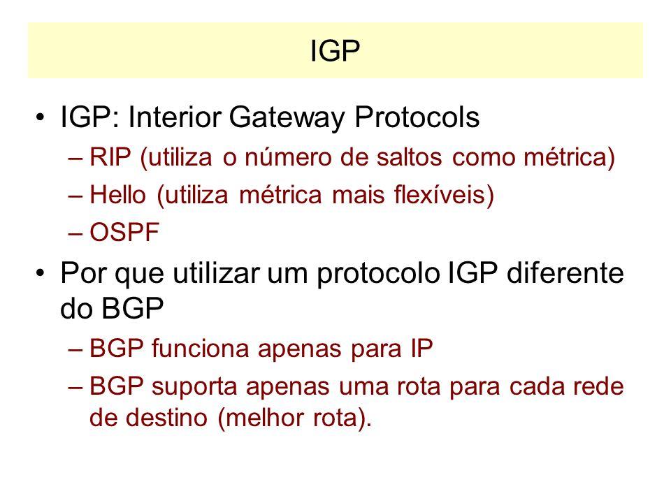 IGP: Internal Gateway Protocol IGP: Interior Gateway Protocols –RIP –OSPF RIP: Routing Information Protocol –Utilizado para redes pequenas e médias –U