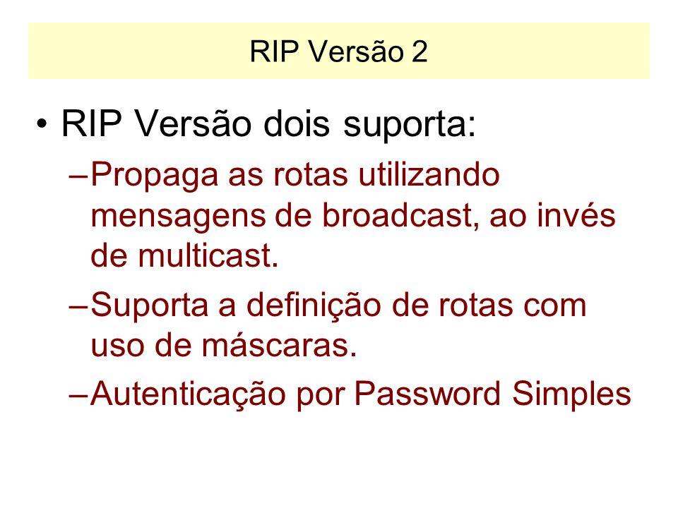 RIP Versão 1 PROBLEMAS: –Não propaga máscaras (só permite definir rotas segundo as classes A, B e C). –Envia mensagens em Broadcast. –Não possui mecan