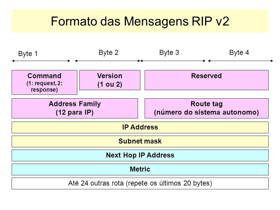 RIP Versão 2 RIP Versão dois suporta: –Propaga as rotas utilizando mensagens de broadcast, ao invés de multicast. –Suporta a definição de rotas com us