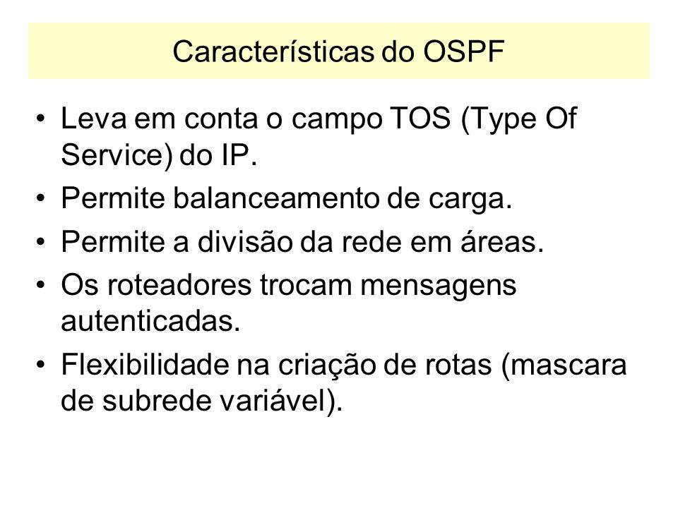 OSPF OSPF: Open Shortest Path First –Protocolo do tipo IGP –Específico para redes IP RIP funciona para outros protocolos, e.g. IPX –Ao contrário do qu