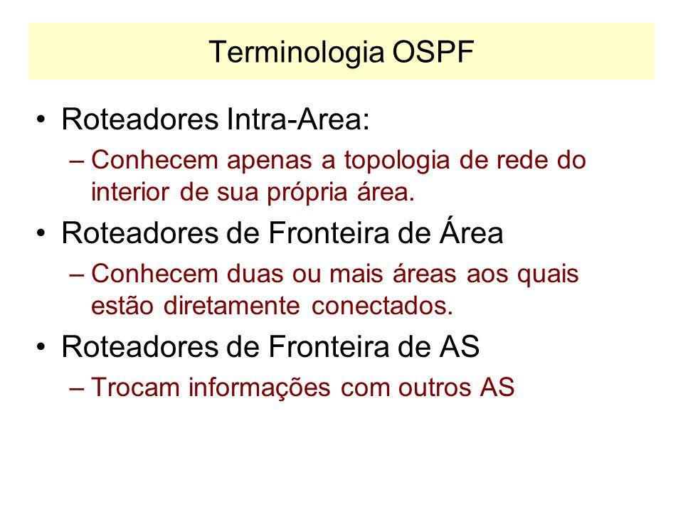 Terminologia OSPF R1 R5 R6 R0 N1 Area 0 Area 2 Area 1 R3 BACKBONE OSPF Area 0.0.0.0 R7 R4 Fronteira de AS N2 N1 Fronteira de Área R2