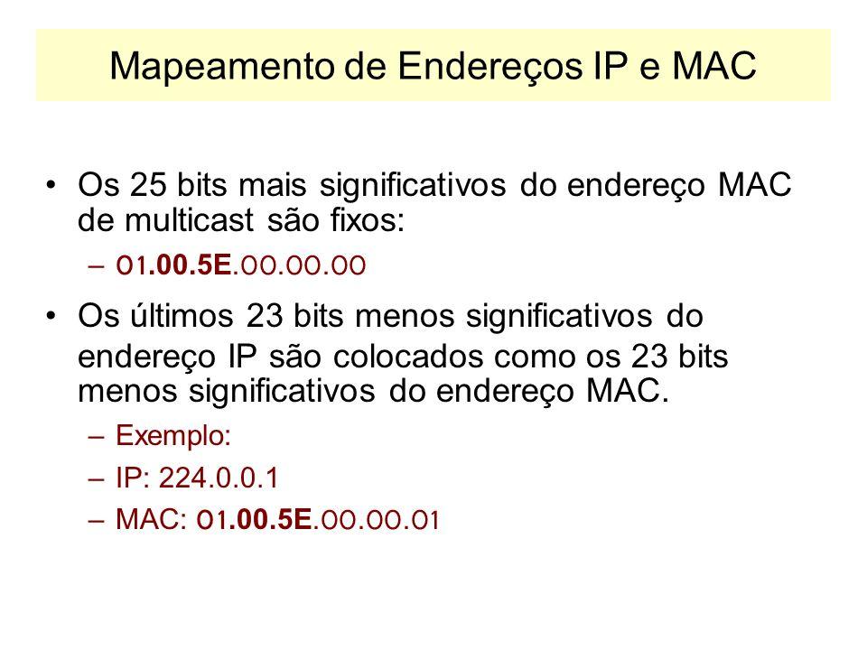 Endereços de Multicast Os endereços IP de multicast aparecem apenas no campo de destino 224.0.0.12 224.0.0.13 192.0.0.1192.0.0.2192.0.0.3192.0.0.4 192