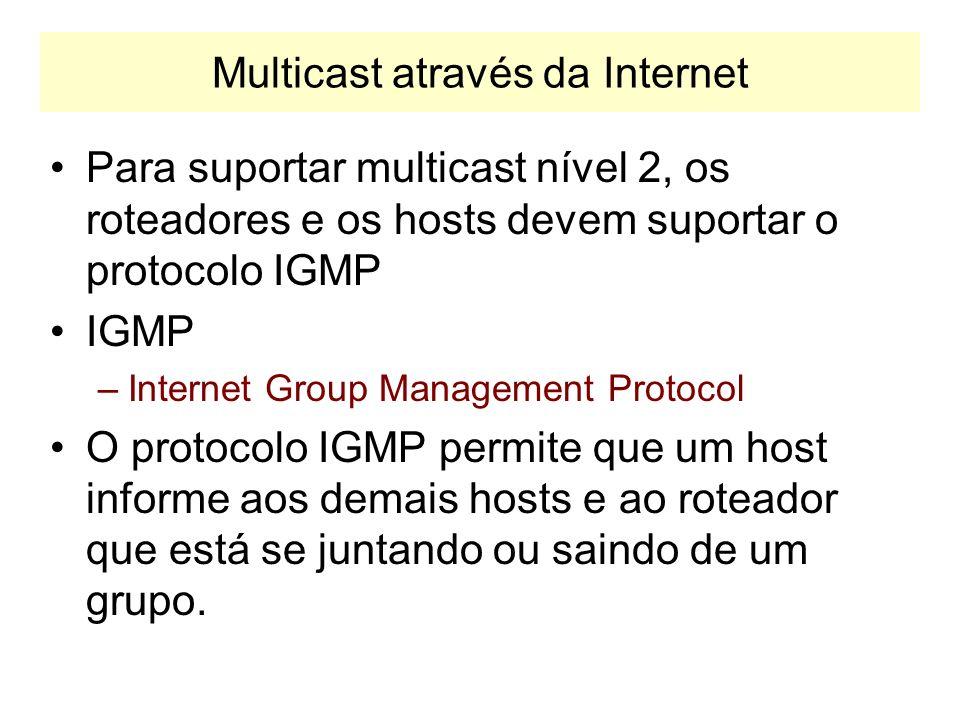 Multicast através da Internet A faixa de endereços 224.0.0.0 a 224.0.0.255 não é propagada na Internet. Os roteadores ignoram as mensagens desses grup