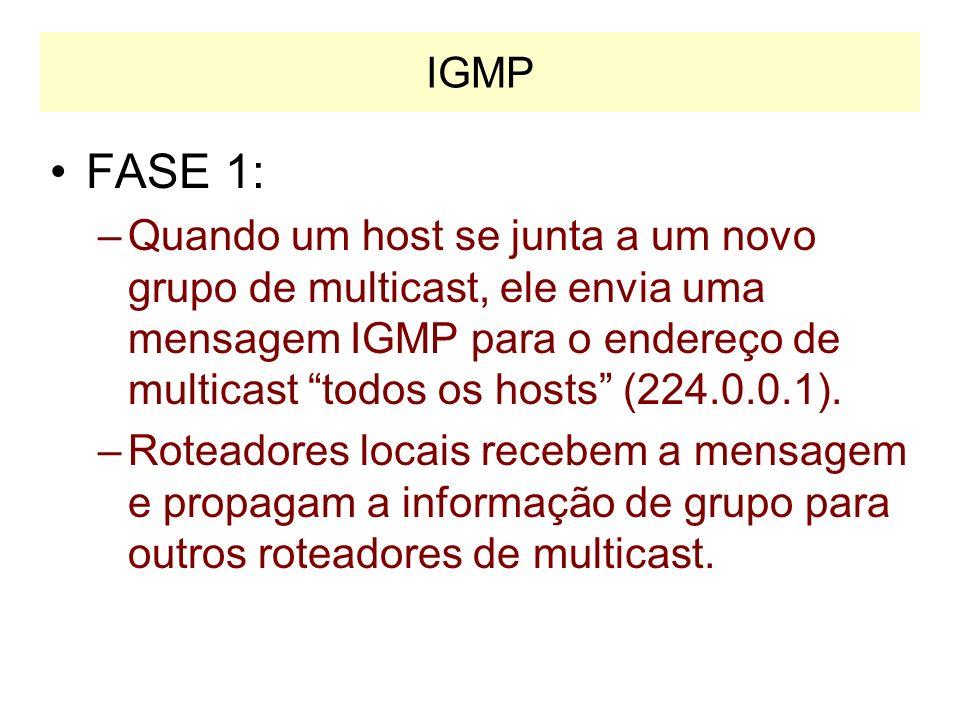 Multicast através da Internet Para suportar multicast nível 2, os roteadores e os hosts devem suportar o protocolo IGMP IGMP –Internet Group Managemen