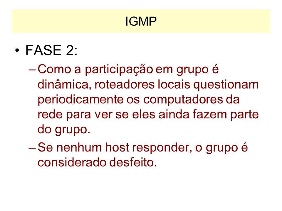 FASE 1 Roteador de multicast Informações de grupo 224.0.0.1 IGMP 224.0.0.1 IGMP 224.0.0.1 IGMP