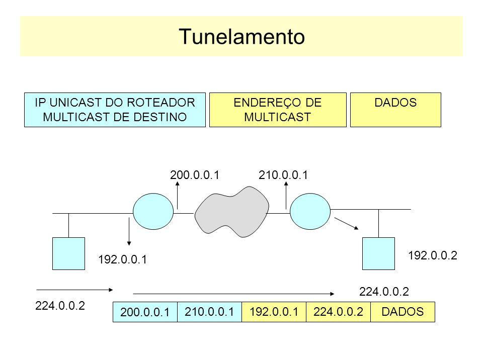 Multicast na Internet Para propagar Multicast na internet, utiliza-se técnicas de tunelamento. INTERNET 224.0.0.3 Roteador de multicast 224.0.0.3