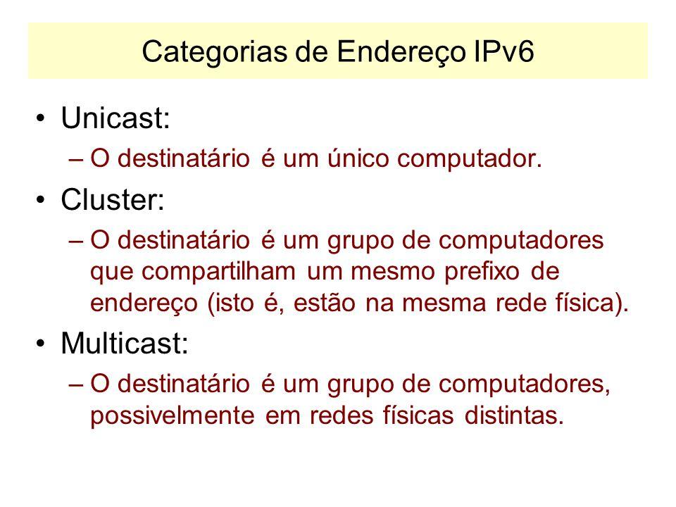IP Versão 6 IPv6: Internet Protocolo, versão 6. –Também denominado IPng (ng: next generation) –Utiliza endereços de 128 bits –Permite criar pacotes es