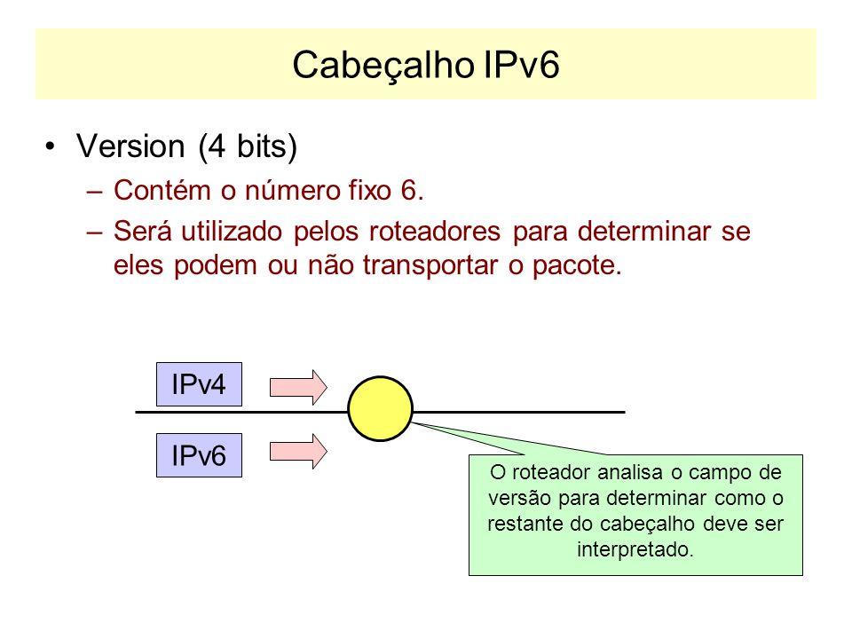 Cabeçalho IPv6 A figura abaixo mostra a porção fixa do cabeçalho IP. –O cabeçalho IPv6 tem menos campos que o IPv4 –No total, o IPv6 utiliza um cabeça