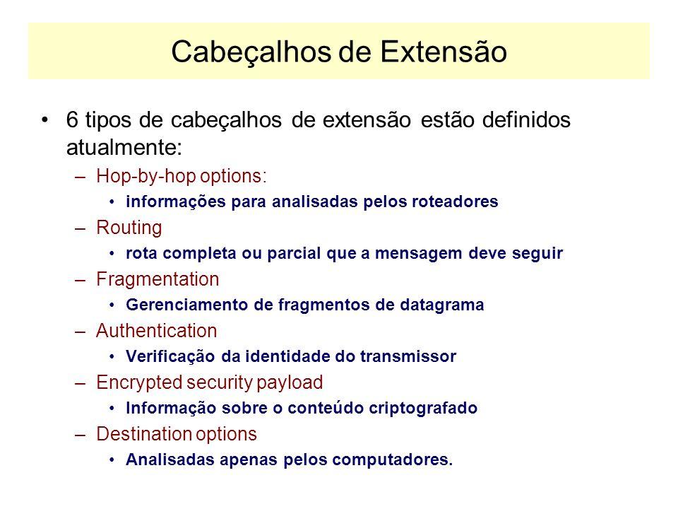 Cabeçalho IPv6 Payload Lenght –Indica quantos bytes seguem o cabeçalho fixo de 40 bytes. Next Header –Se houver cabeçalhos de extensão, indica o seu t