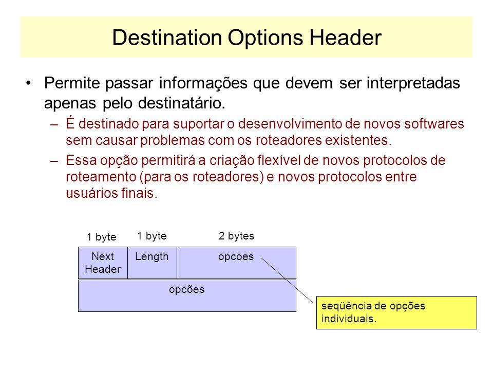 Hop-by-hop Header Define opções sobre o datagrama transportado, que todos os roteadroes devem analisar. Exemplo de opção: –Suportar datagramas com mai