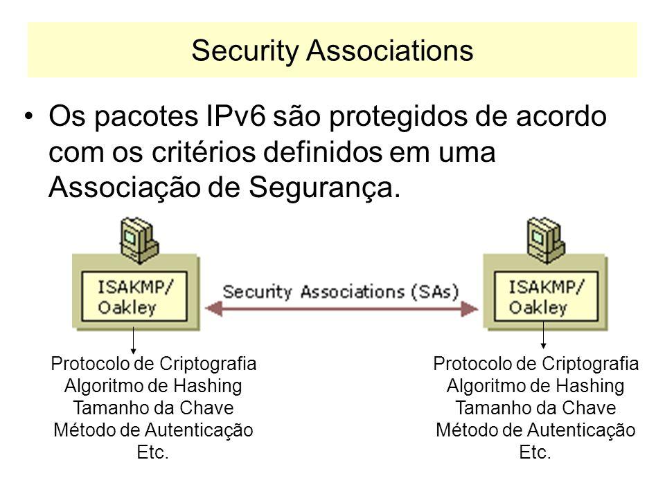 Security Association Num SA, ambos os computadores concordam em como trocar e proteger a informação, definindo: –Tipo de autenticação, Tipo de criptog