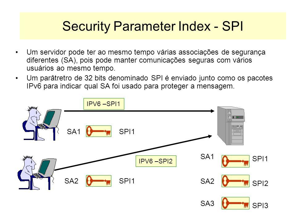 Security Associations Os pacotes IPv6 são protegidos de acordo com os critérios definidos em uma Associação de Segurança. Protocolo de Criptografia Al