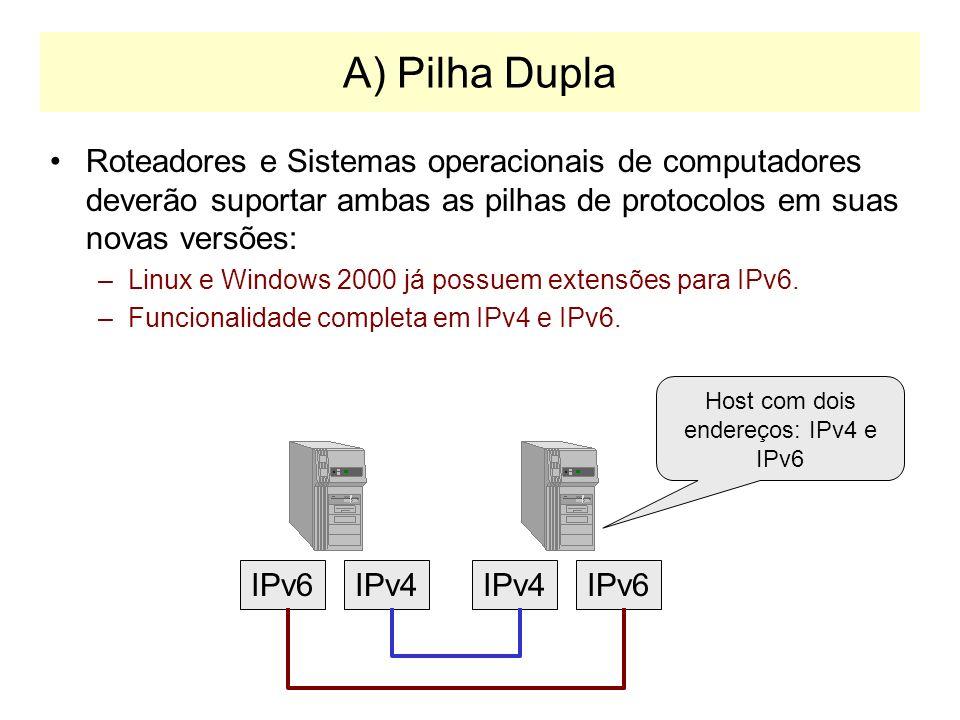 Integração IPv4 e IPv6 Três estratégias: –A) Utilizar dispositivos de rede com duas pilhas de protocolo: IPv4 e IPv6 –B) Construir endereços IPv6 a pa