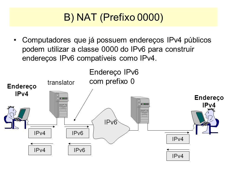 A) Pilha Dupla Roteadores e Sistemas operacionais de computadores deverão suportar ambas as pilhas de protocolos em suas novas versões: –Linux e Windo