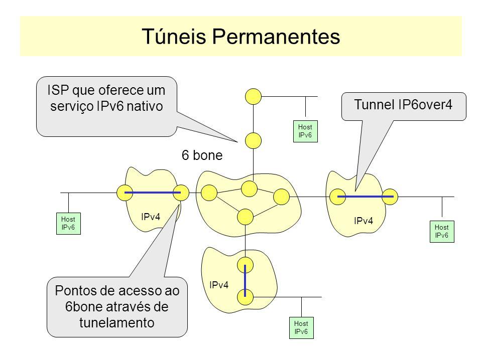 Tipos de Túneis IPv6overIPv4 Os túneis podem ser criados de duas maneiras: –CONEXÃO A UMA ESTRUTURA COMUM: Estratégia: Redes IPv6 se conectam a um bac