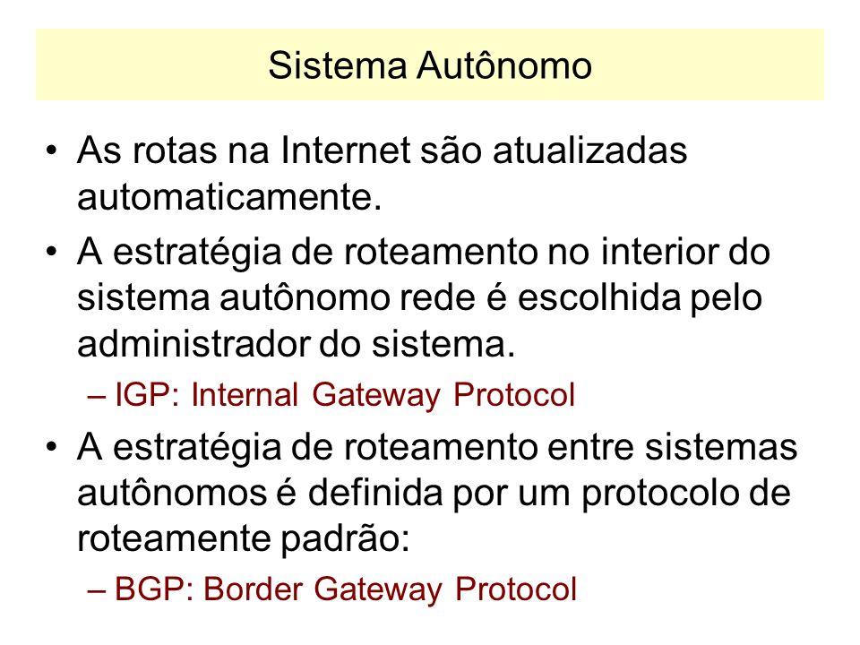 Roteadores na Internet Os roteadores da Internet são de dois tipos: Exterior Gateways –Troca informações com roteadores pertencentes a outros AS. –Equ