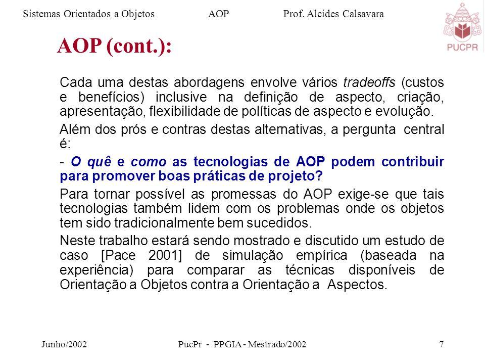 Junho/2002PucPr - PPGIA - Mestrado/20027 Cada uma destas abordagens envolve vários tradeoffs (custos e benefícios) inclusive na definição de aspecto, criação, apresentação, flexibilidade de políticas de aspecto e evolução.